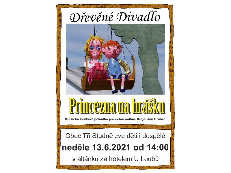 """Představení pro děti - """"Princezna na hrášku"""" - 13. 6. 2021 ve 14.00 hodin."""